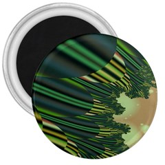 A Feathery Sort Of Green Image Shades Of Green And Cream Fractal 3  Magnets by Simbadda