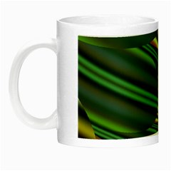 A Feathery Sort Of Green Image Shades Of Green And Cream Fractal Night Luminous Mugs by Simbadda