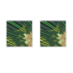 A Feathery Sort Of Green Image Shades Of Green And Cream Fractal Cufflinks (square) by Simbadda