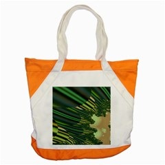 A Feathery Sort Of Green Image Shades Of Green And Cream Fractal Accent Tote Bag by Simbadda