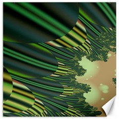 A Feathery Sort Of Green Image Shades Of Green And Cream Fractal Canvas 16  X 16   by Simbadda