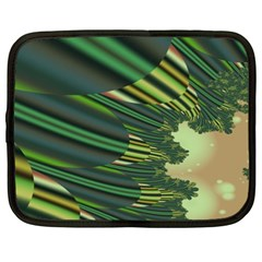 A Feathery Sort Of Green Image Shades Of Green And Cream Fractal Netbook Case (xxl)  by Simbadda