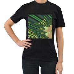 A Feathery Sort Of Green Image Shades Of Green And Cream Fractal Women s T Shirt (black) by Simbadda