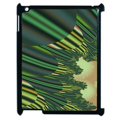 A Feathery Sort Of Green Image Shades Of Green And Cream Fractal Apple Ipad 2 Case (black) by Simbadda