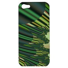 A Feathery Sort Of Green Image Shades Of Green And Cream Fractal Apple Iphone 5 Hardshell Case by Simbadda
