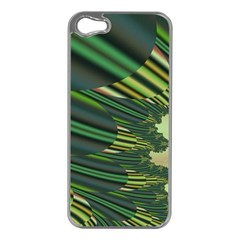 A Feathery Sort Of Green Image Shades Of Green And Cream Fractal Apple Iphone 5 Case (silver) by Simbadda