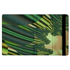 A Feathery Sort Of Green Image Shades Of Green And Cream Fractal Apple Ipad 3/4 Flip Case by Simbadda