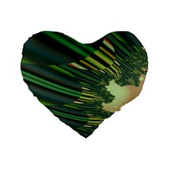 A Feathery Sort Of Green Image Shades Of Green And Cream Fractal Standard 16  Premium Heart Shape Cushions by Simbadda