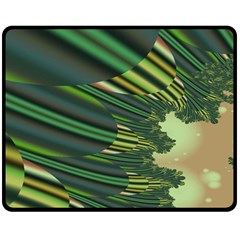 A Feathery Sort Of Green Image Shades Of Green And Cream Fractal Double Sided Fleece Blanket (medium)  by Simbadda