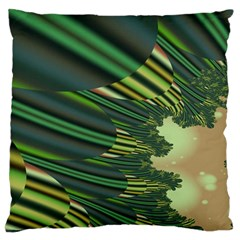 A Feathery Sort Of Green Image Shades Of Green And Cream Fractal Standard Flano Cushion Case (one Side) by Simbadda