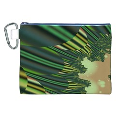 A Feathery Sort Of Green Image Shades Of Green And Cream Fractal Canvas Cosmetic Bag (xxl) by Simbadda