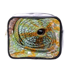 Macro Of The Eye Of A Chameleon Mini Toiletries Bags by Simbadda