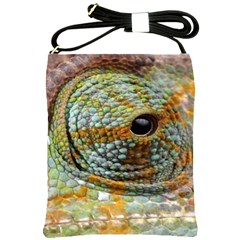 Macro Of The Eye Of A Chameleon Shoulder Sling Bags by Simbadda