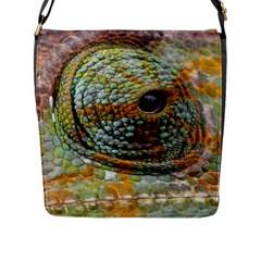Macro Of The Eye Of A Chameleon Flap Messenger Bag (l)  by Simbadda