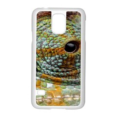 Macro Of The Eye Of A Chameleon Samsung Galaxy S5 Case (white) by Simbadda