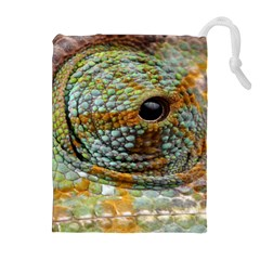 Macro Of The Eye Of A Chameleon Drawstring Pouches (extra Large) by Simbadda