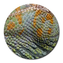Macro Of Chameleon Skin Texture Background Round Mousepads by Simbadda