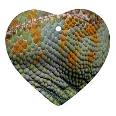 Macro Of Chameleon Skin Texture Background Ornament (heart) by Simbadda