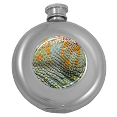 Macro Of Chameleon Skin Texture Background Round Hip Flask (5 Oz) by Simbadda