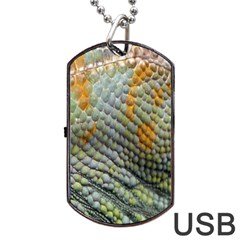 Macro Of Chameleon Skin Texture Background Dog Tag Usb Flash (two Sides) by Simbadda