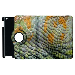 Macro Of Chameleon Skin Texture Background Apple iPad 3/4 Flip 360 Case by Simbadda