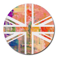 Union Jack Abstract Watercolour Painting Round Mousepads by Simbadda