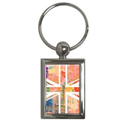 Union Jack Abstract Watercolour Painting Key Chains (rectangle)