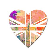 Union Jack Abstract Watercolour Painting Heart Magnet by Simbadda
