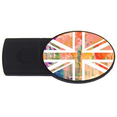 Union Jack Abstract Watercolour Painting Usb Flash Drive Oval (2 Gb) by Simbadda