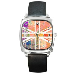 Union Jack Abstract Watercolour Painting Square Metal Watch by Simbadda