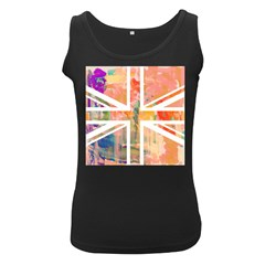 Union Jack Abstract Watercolour Painting Women s Black Tank Top by Simbadda