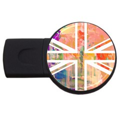 Union Jack Abstract Watercolour Painting Usb Flash Drive Round (4 Gb) by Simbadda