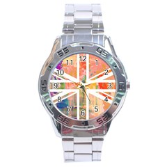 Union Jack Abstract Watercolour Painting Stainless Steel Analogue Watch