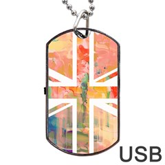 Union Jack Abstract Watercolour Painting Dog Tag USB Flash (One Side) by Simbadda