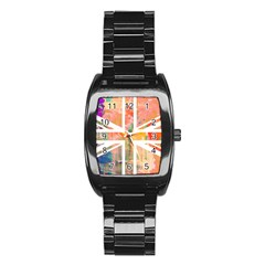Union Jack Abstract Watercolour Painting Stainless Steel Barrel Watch by Simbadda
