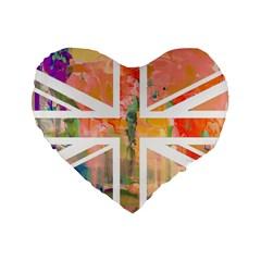 Union Jack Abstract Watercolour Painting Standard 16  Premium Flano Heart Shape Cushions by Simbadda