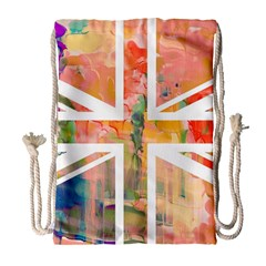 Union Jack Abstract Watercolour Painting Drawstring Bag (large) by Simbadda