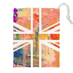 Union Jack Abstract Watercolour Painting Drawstring Pouches (xxl) by Simbadda
