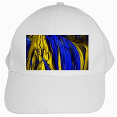 Blue And Gold Fractal Lava White Cap by Simbadda