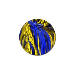 Blue And Gold Fractal Lava Golf Ball Marker (10 Pack) by Simbadda