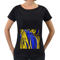 Blue And Gold Fractal Lava Women s Loose Fit T Shirt (black) by Simbadda