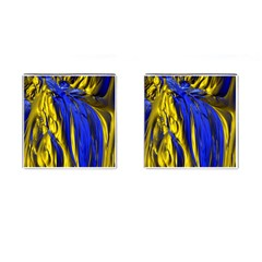 Blue And Gold Fractal Lava Cufflinks (square) by Simbadda