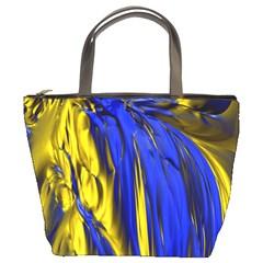 Blue And Gold Fractal Lava Bucket Bags by Simbadda