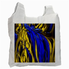 Blue And Gold Fractal Lava Recycle Bag (one Side) by Simbadda