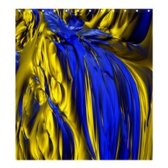 Blue And Gold Fractal Lava Shower Curtain 66  X 72  (large)  by Simbadda