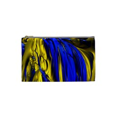 Blue And Gold Fractal Lava Cosmetic Bag (small)  by Simbadda