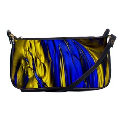 Blue And Gold Fractal Lava Shoulder Clutch Bags by Simbadda