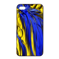 Blue And Gold Fractal Lava Apple Iphone 4/4s Seamless Case (black) by Simbadda