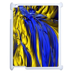 Blue And Gold Fractal Lava Apple Ipad 2 Case (white) by Simbadda