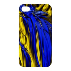 Blue And Gold Fractal Lava Apple Iphone 4/4s Hardshell Case by Simbadda